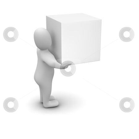 Man carrying blank box. stock photo, Man carrying blank box. 3d rendered illustration. by Jiri Moucka