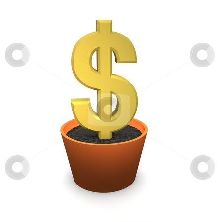Golden dollar in flower pot. 3d rendered illustration stock photo, Golden dollar in flower pot. 3d rendered illustration by Jiri Moucka