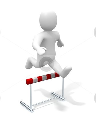 Man jumping over the hurdle. 3d rendered illustration. stock photo, Man jumping over the hurdle. 3d rendered illustration. by Jiri Moucka