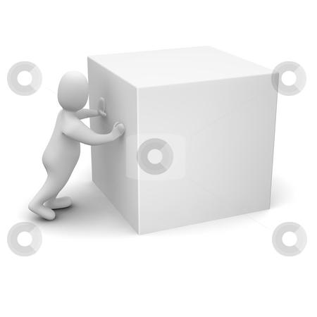 Man pushing blank cube. stock photo, Man pushing blank cube. 3d rendered illustration. by Jiri Moucka