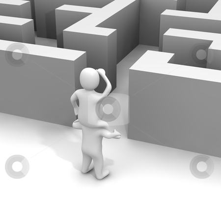 Finding path through labyrinth. 3d rendered illustration. stock photo, Finding path through labyrinth. 3d rendered illustration. by Jiri Moucka