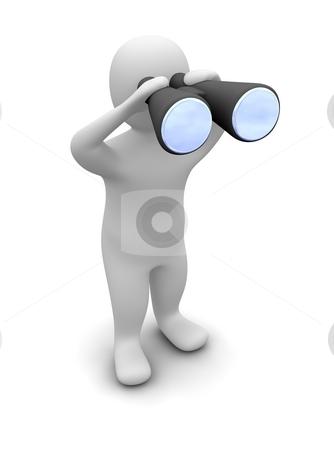 Man looking through binoculars stock photo, Man looking through binoculars. 3d rendered illustration. by Jiri Moucka