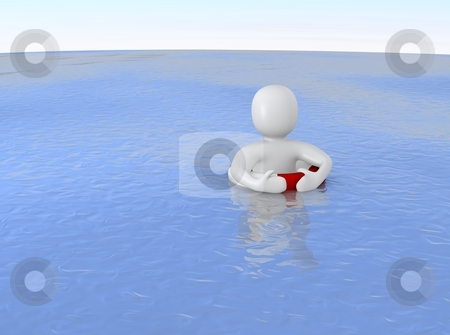 Man with life ring in ocean. 3d rendered illustration. stock photo, Man with life ring in ocean. 3d rendered illustration. by Jiri Moucka