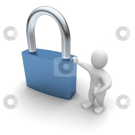 Man lean on padlock. 3d rendered illustration. stock photo, Man lean on padlock. 3d rendered illustration. by Jiri Moucka