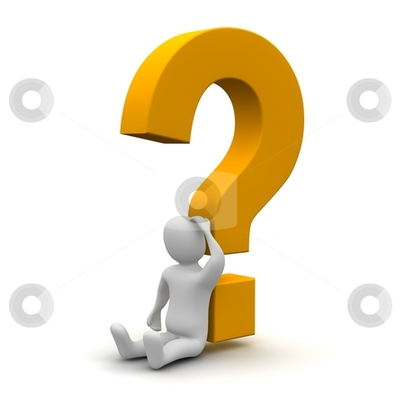Thinking man and question mark. 3d rendered illustration. stock photo, Thinking man and question mark. 3d rendered illustration. by Jiri Moucka