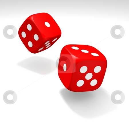 Red dices in motion stock photo, Red dices in move. 3d rendered illustration. by Jiri Moucka