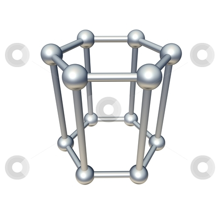 Hexagon model isolated on white. 3d rendered illustration. stock photo, Hexagon model isolated on white. 3d rendered illustration. by Jiri Moucka