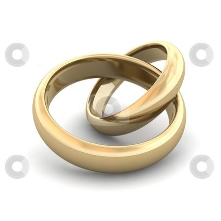 Golden wedding rings. 3d rendered illustration. stock photo, Golden wedding rings. 3d rendered illustration. by Jiri Moucka