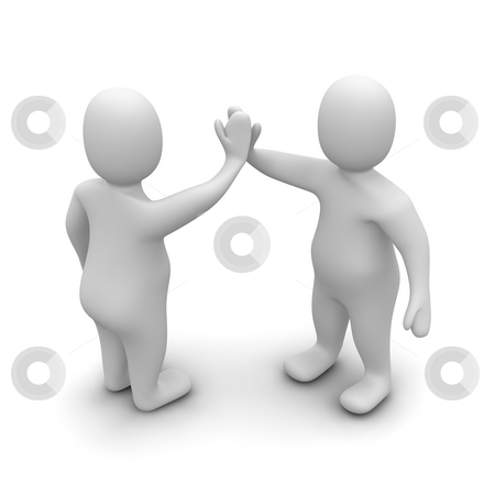 Two characters giving high five. 3d rendered illustration. stock photo, Two characters giving high five. 3d rendered illustration. by Jiri Moucka