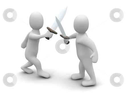 Fighting with swords. 3d rendered illustration isolated on white. stock photo, Fighting with swords. 3d rendered illustration isolated on white. by Jiri Moucka