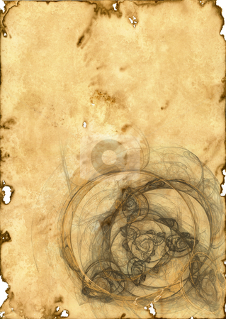 Old paper stock photo, Old brown paper background with floral design - historic document by J?