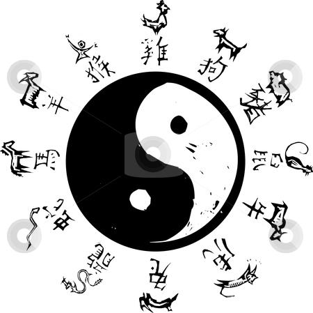 Yin Yang Zodiac stock vector clipart, Yin and Yang Tao symbol with surround of Chinese Zodiac. by Jeffrey Thompson