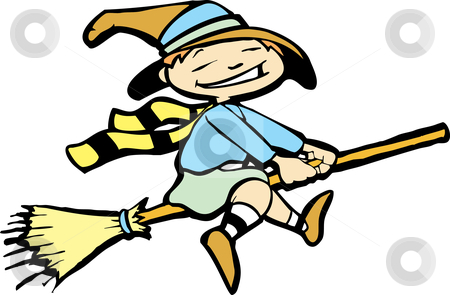 Young Witch stock vector clipart, Isolated Halloween image of a young witch flying on a broom. by Jeffrey Thompson