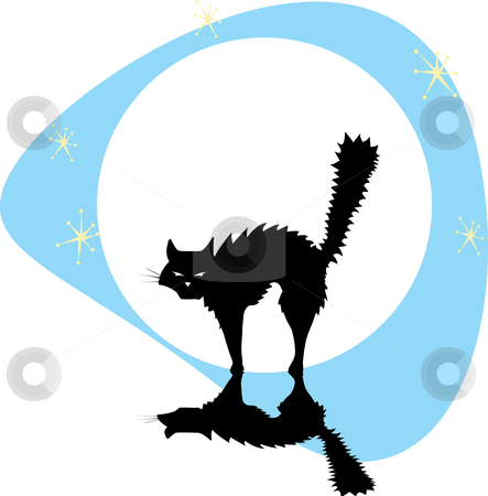 Black Cat with Moon stock vector clipart, Halloween black cat back lit by the full moon with stars. by Jeffrey Thompson