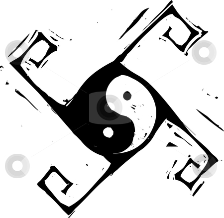 Yin Yang Cross stock vector clipart, Yin and Yang Symbol in spinning cross pattern. by Jeffrey Thompson