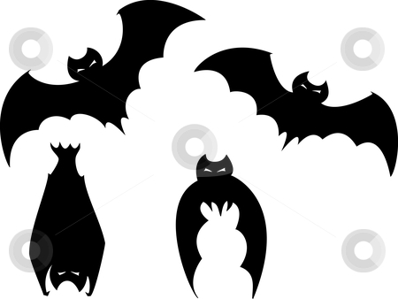 Set of Halloween Bats stock vector clipart, Set of four scary bats for Halloween spot images. by Jeffrey Thompson