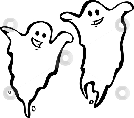 Pair of Ghosts stock vector clipart, A Pair of fun Halloween Night Ghosts. by Jeffrey Thompson