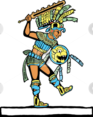 Mayan Warrior #6 stock vector clipart, Mayan warrior designed after Mesoamerican Pottery and Temple Images. by Jeffrey Thompson