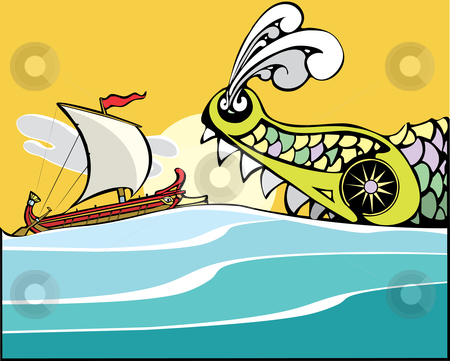 Greek Ship and Sea Monster. stock vector clipart, Greek ship being eaten by a sea monster. by Jeffrey Thompson