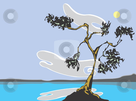Lake with trees. stock vector clipart, Twisted pine trees from my own scratch board image on an outcrop in the middle of lake. by Jeffrey Thompson