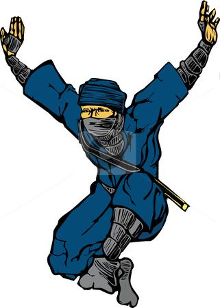 Jumping Ninja stock vector clipart, Isolated image of single leaping ninja. by Jeffrey Thompson