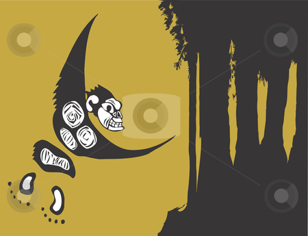 Single Monkey stock vector clipart, Single monkey swinging, by the shadows of some trees. by Jeffrey Thompson