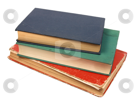 Old books. stock photo, Old books. Close-up. Isolated on white. by Andrey Khritin