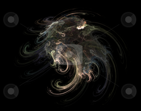Swirl stock photo, Abstract gothic swirl on black background - illustration by J?