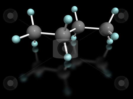 Butano nero stock photo, 3D molecular model of butane on black background by ANTONIO SCARPI