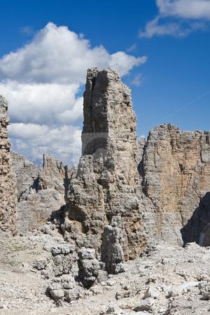 Dolomites peak stock photo, Rock spike in Sella mountain, italian dolomites. Photo taken with polarizer filter by ANTONIO SCARPI