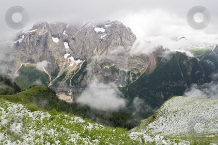 Dolomiti firt snow stock photo, Off season snowfall  in val di Fassa, italian dolomites. by ANTONIO SCARPI