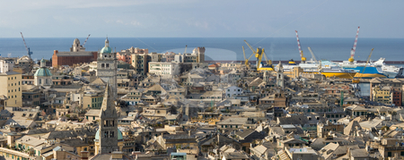 Genoa, old town panorama stock photo, The characteristic old houses in Genova, Italy by ANTONIO SCARPI