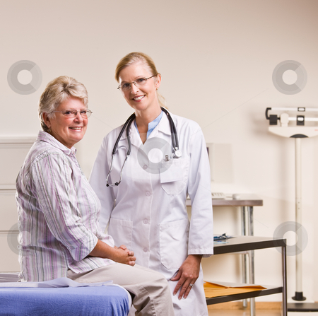 Senior woman having checkup in doctor?s office stock photo, Senior woman having checkup in doctor?s office by Jonathan Ross