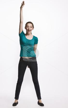 Teenage girl cheering stock photo, Teenage girl cheering by Jonathan Ross