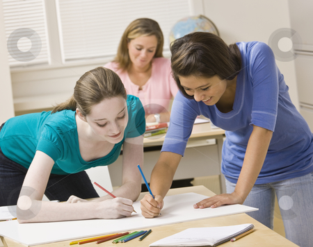 Students working on project in classroom stock photo, Students working on project in classroom by Jonathan Ross