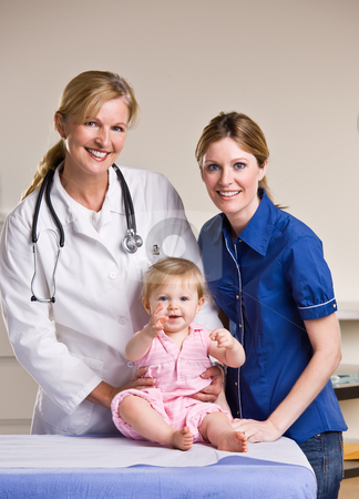 Doctor, mother and baby girl in doctor?s office stock photo, Doctor, mother and baby girl in doctor?s office by Jonathan Ross