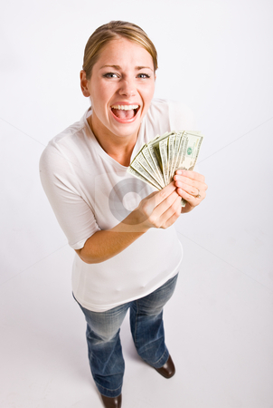 Woman holding cash stock photo, Woman holding cash by Jonathan Ross