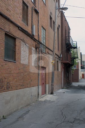 Back alley stock photo, Back alley in downtown montreal by Yann Poirier