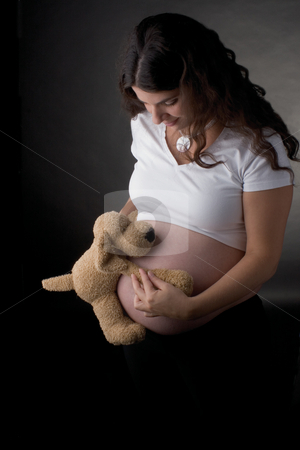 Stuff dog huggin belly stock photo, Stuff toy dug hugging seven month pregrant belly of a young women by Yann Poirier