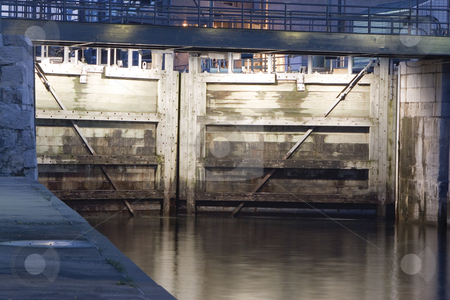 Wooden lock stock photo, Canal lachine closed woodend lock at night by Yann Poirier