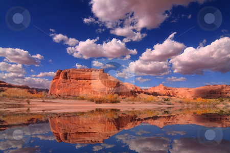 Redrock Reflections stock photo, View of the red rock formations in Arches National Park with blue sky? by Mark Smith