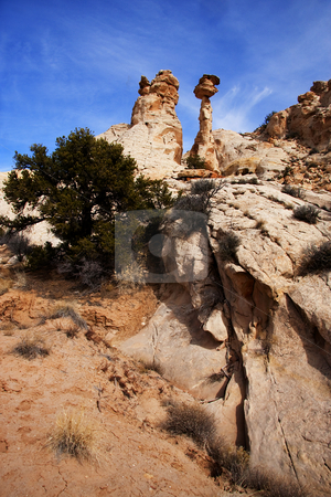 San Rafal Swell stock photo, View of the red rock formations in San Rafael Swell with blue sky by Mark Smith