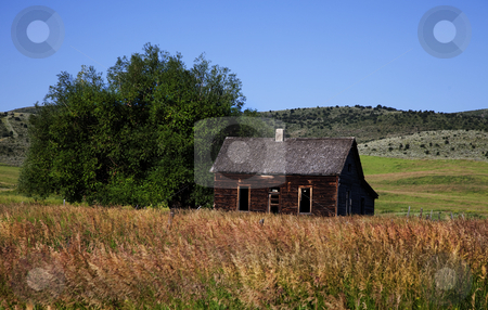 Americana stock photo, Old Barn in the mountains with blue shy and clouds by Mark Smith