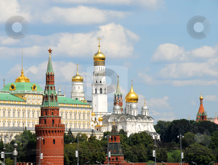 Moscow Kremlin stock photo, Moscow cityscape with Kremlin towers and churches by Julija Sapic