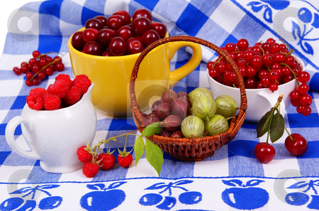 Fruit stock photo, Four types of mature fruit as background by Jolanta Dabrowska