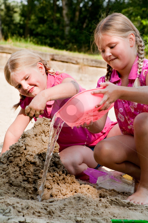 Begin of a big castle stock photo, Happy children having fun in the park by Frenk and Danielle Kaufmann
