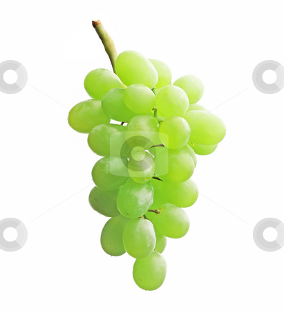 Grapes stock photo, Green grapes isolated on white background by Dmitry Rostovtsev