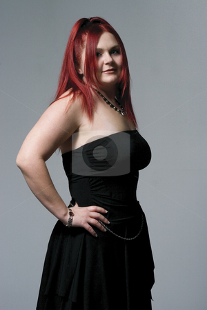 Goth rocker chick stock photo, Red hair female model with goth rock look by Yann Poirier