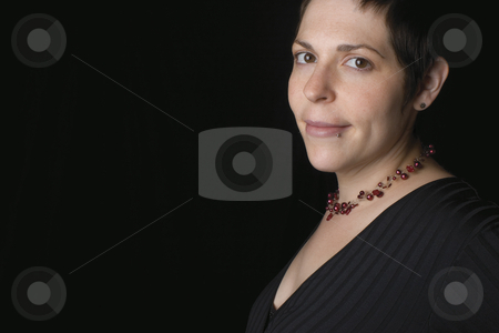 Model stock photo, Thirty something female model looking at the camera by Yann Poirier