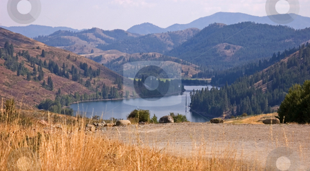 Lake in Mountains Landscape stock photo, This beautiful mountain lake landscape is taken from a high distance of Twin Lakes Washington. by Valerie Garner